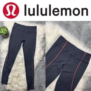 Lululemon Full Length Leggings 6 Gray with Orange